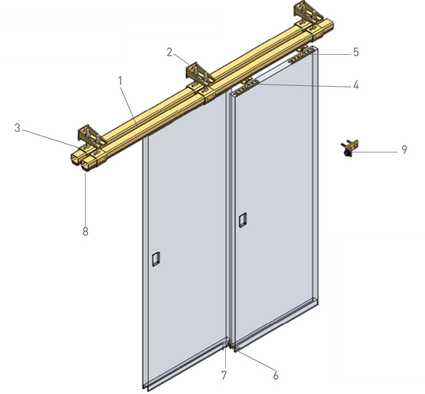 niko b industrial sliding door track